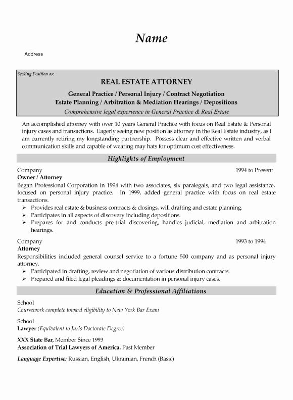 Real Estate Resume Templates Awesome Real Estate attorney Resume Example