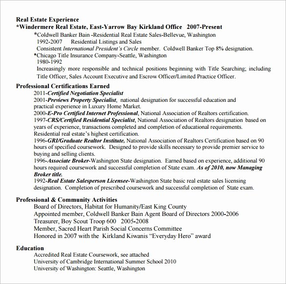 Real Estate Resume Templates Beautiful Sample Real Estate Resume 14 Download Free Documents