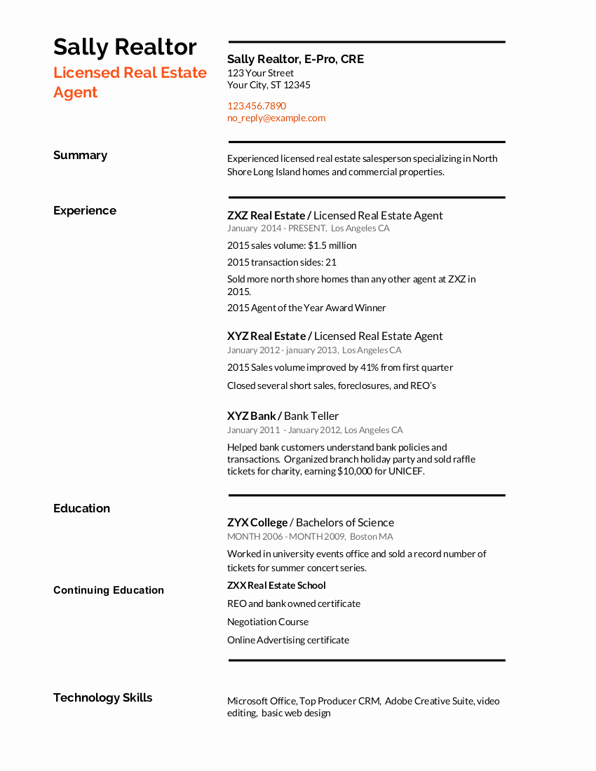 Real Estate Resume Templates Best Of Real Estate Resume Writing Guide with Template