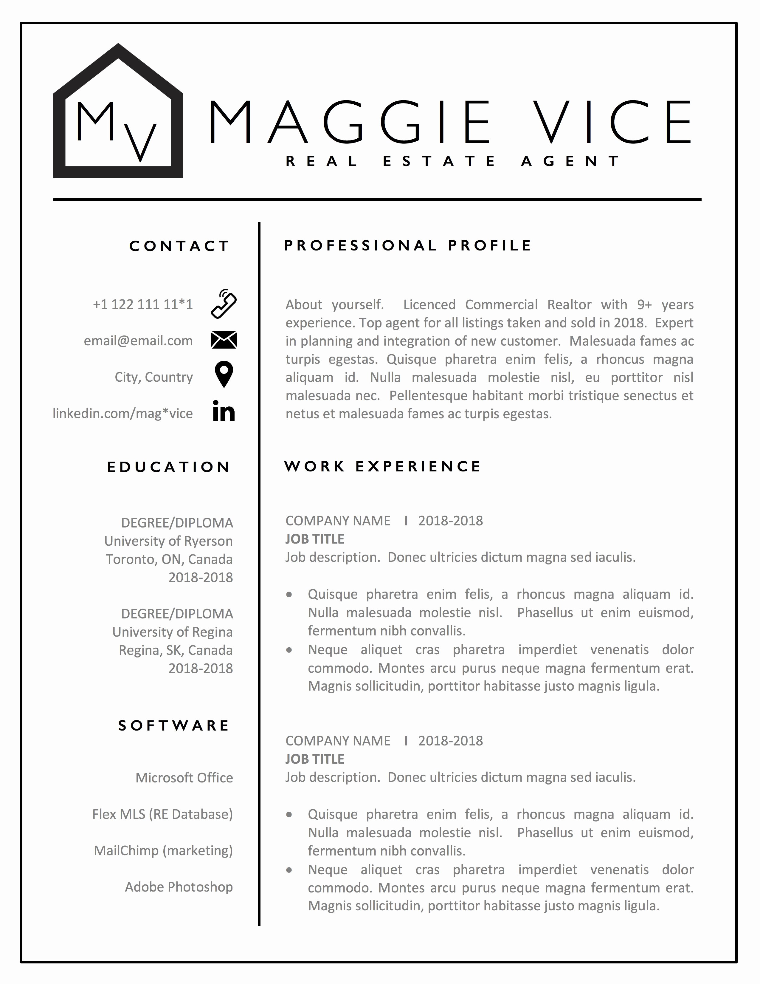 Real Estate Resume Templates Best Of Realtor Resume Cv Template Design Real Estate Resume Cv