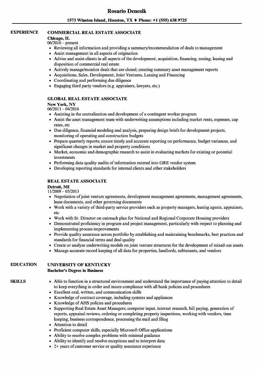 Real Estate Resume Templates Fresh Real Estate associate Resume Samples