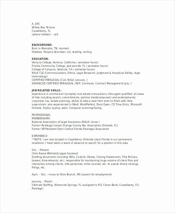 Real Estate Resume Templates Inspirational Paralegal Resume Template 7 Free Word Pdf Documents