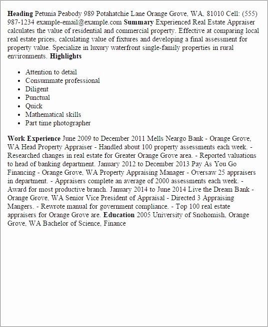 Real Estate Resume Templates Inspirational Professional Real Estate Appraiser Templates to Showcase