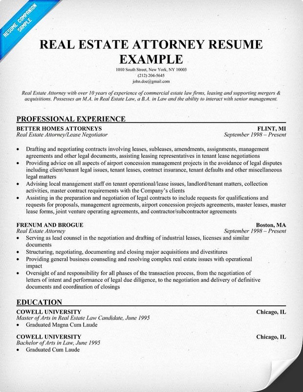 Real Estate Resume Templates Inspirational Real Estate attorney Resume Example