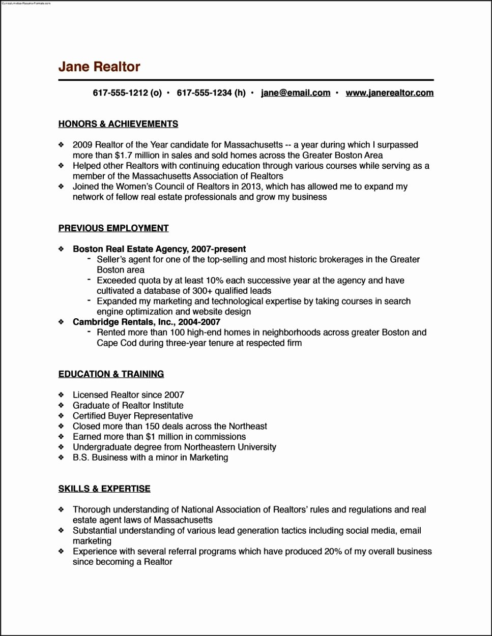Real Estate Resume Templates Inspirational Real Estate Resume Templates Free Samples Examples