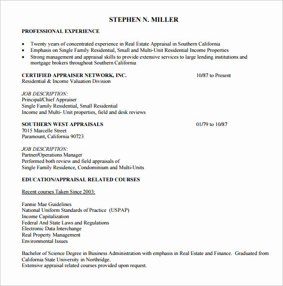Real Estate Resume Templates Inspirational Sample Real Estate Resume 14 Download Free Documents