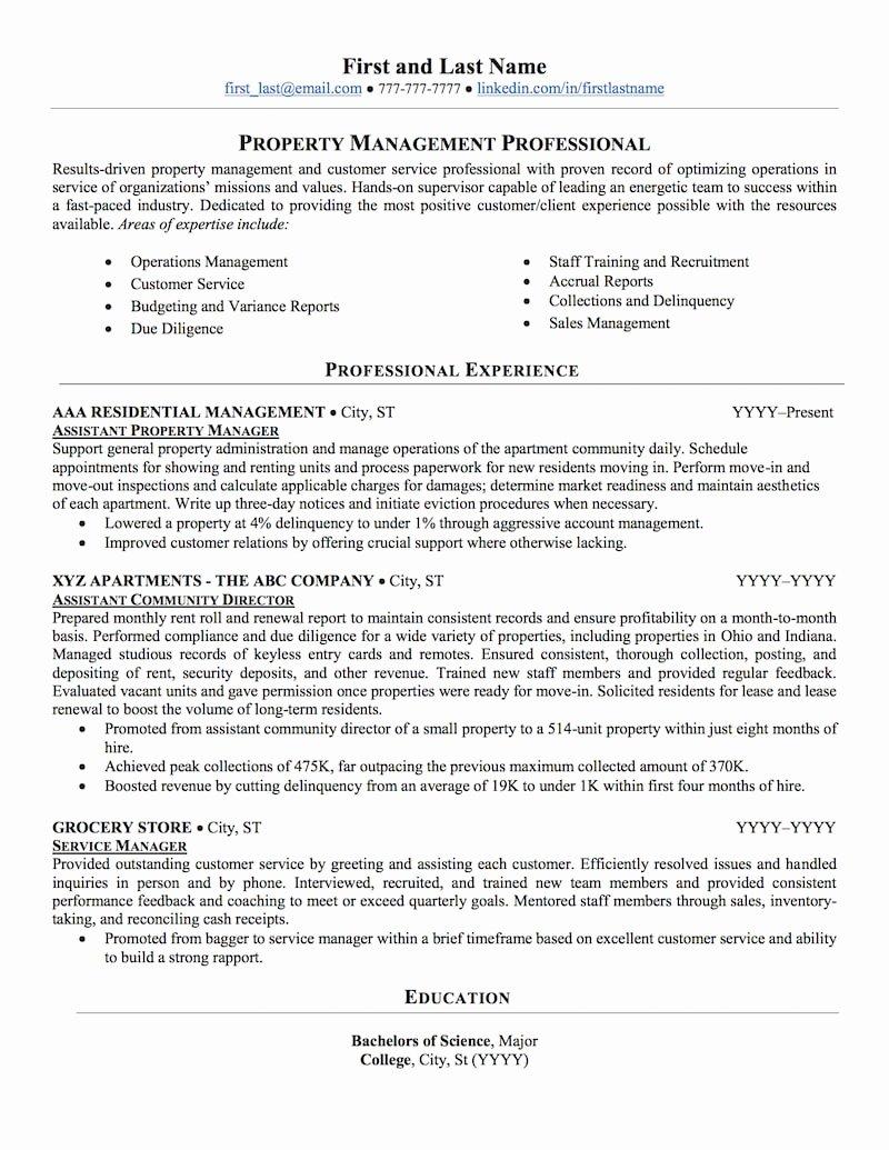 Real Estate Resume Templates Lovely Real Estate Property Management Resume Sample