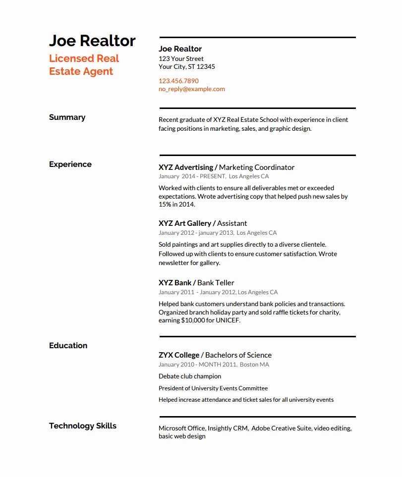 Real Estate Resume Templates Luxury Real Estate Resume Writing Guide with Template