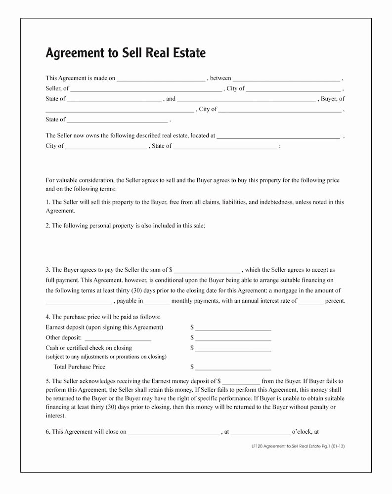 Real Estate Sale Contract Template Awesome Agreement to Sell Real Estate forms and Instructions