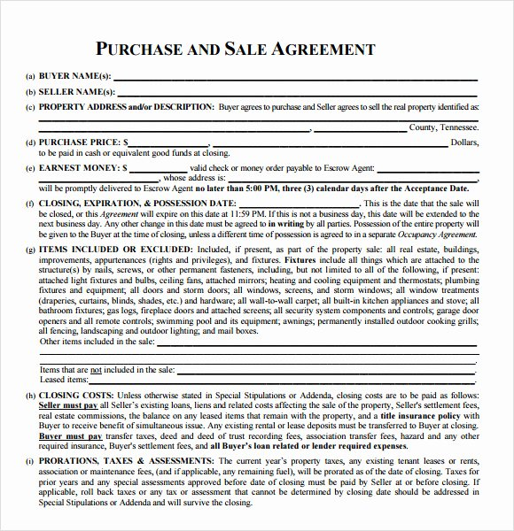 Real Estate Sale Contract Template Best Of Sample Real Estate Purchase Agreement 7 Examples format
