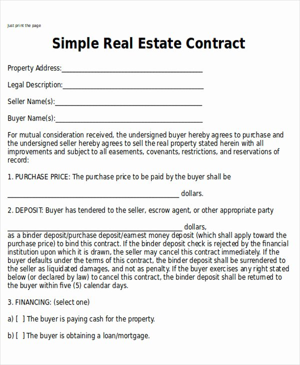 Real Estate Sale Contract Template Inspirational Sample Home Sales Contracts 7 Examples In Word Pdf