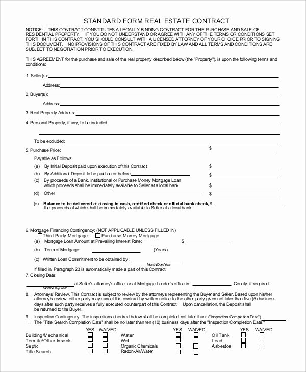 Real Estate Sales Contract Template Beautiful Sample Real Estate Sales Contract 10 Examples In Pdf Word