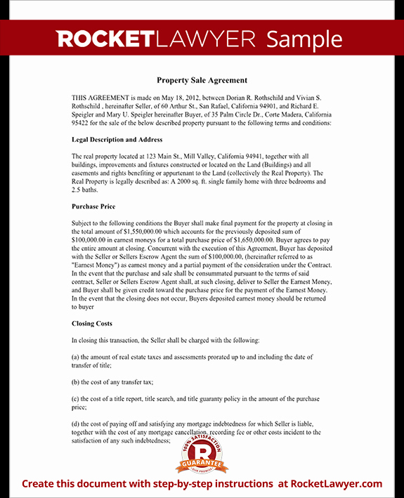 Real Estate Sales Contract Template Best Of Property Sale Agreement Property Sale Contract form