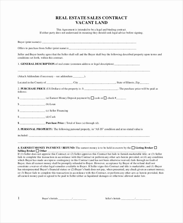 Real Estate Sales Contract Template Fresh Sample Real Estate Sales Contract form 8 Free Documents