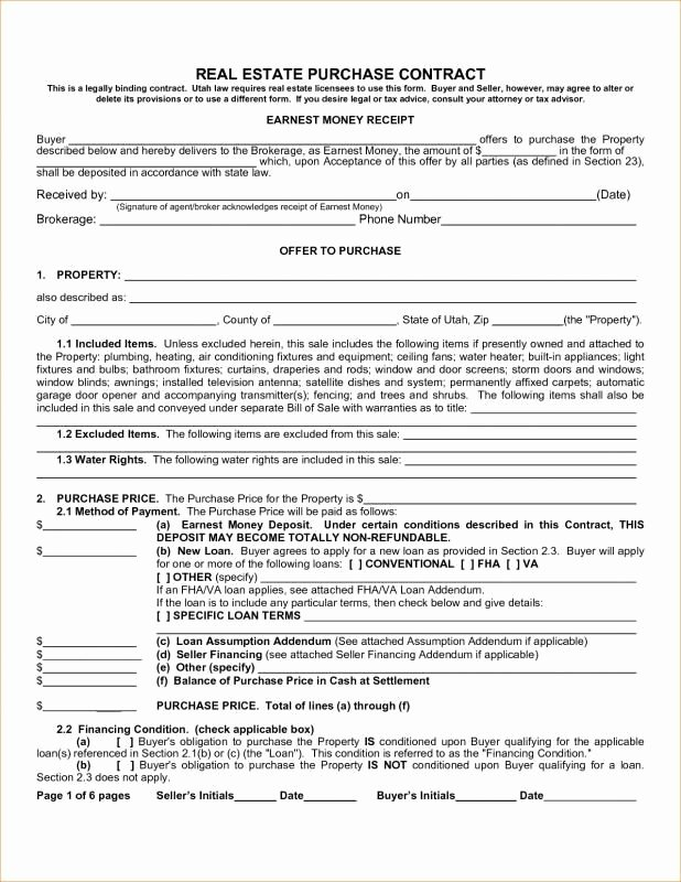 Real Estate Sales Contract Template Lovely Real Estate Purchase Contract