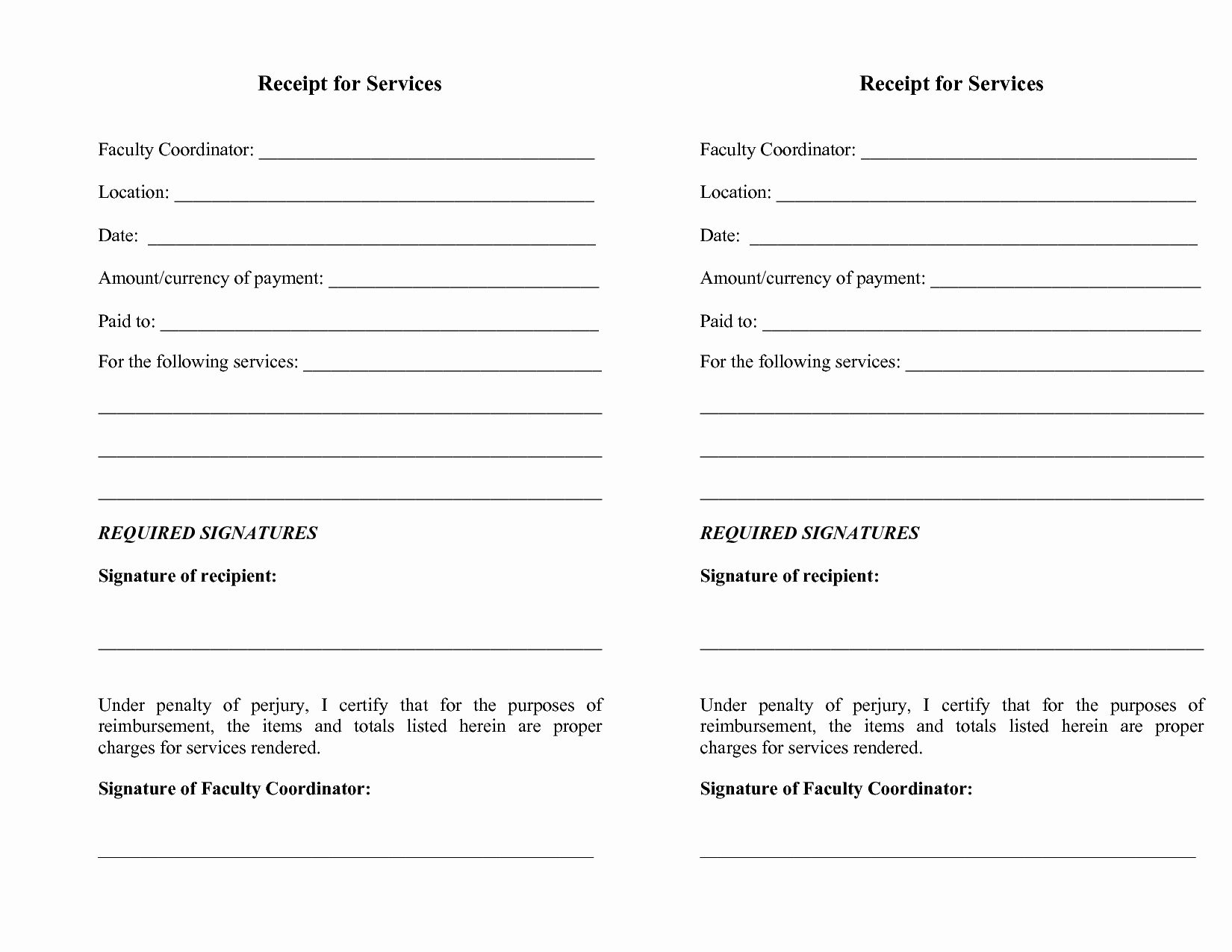 Receipt for Services Template Best Of Blank Receipt for Services Rendered Bill Sale Template