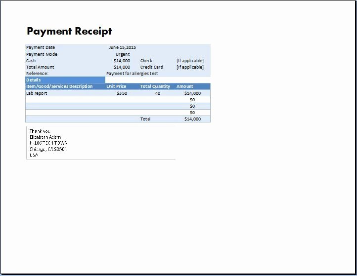 Receipt for Services Template Best Of Ms Excel Payment Receipt Template
