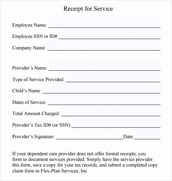Receipt for Services Template Fresh Free 8 Sample Service Receipt Templates In Google Docs