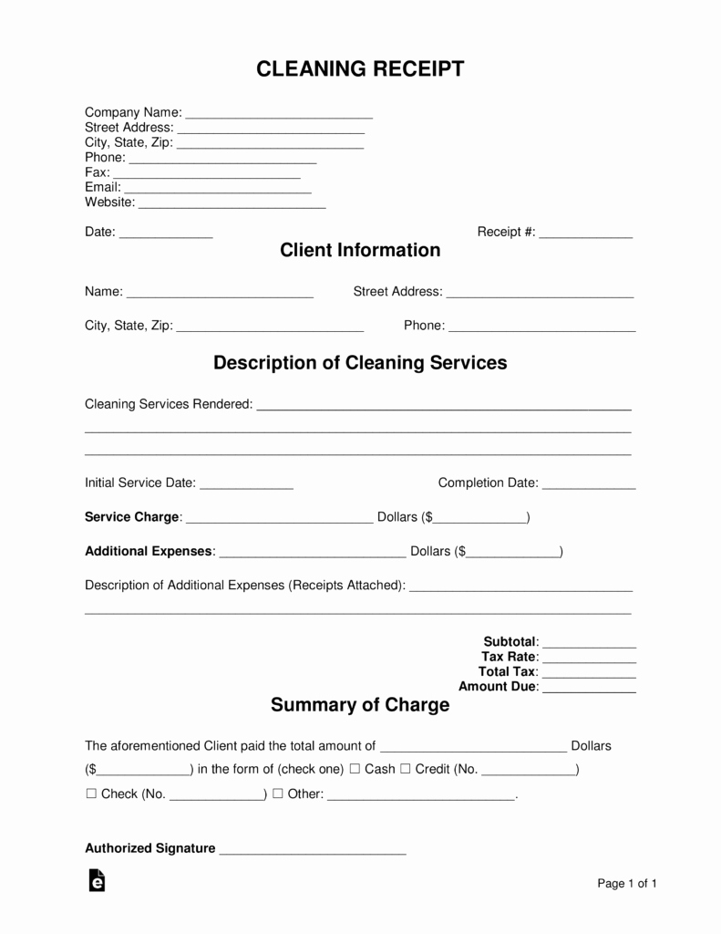 Receipt for Services Template New Free Cleaning Service Receipt Template Pdf