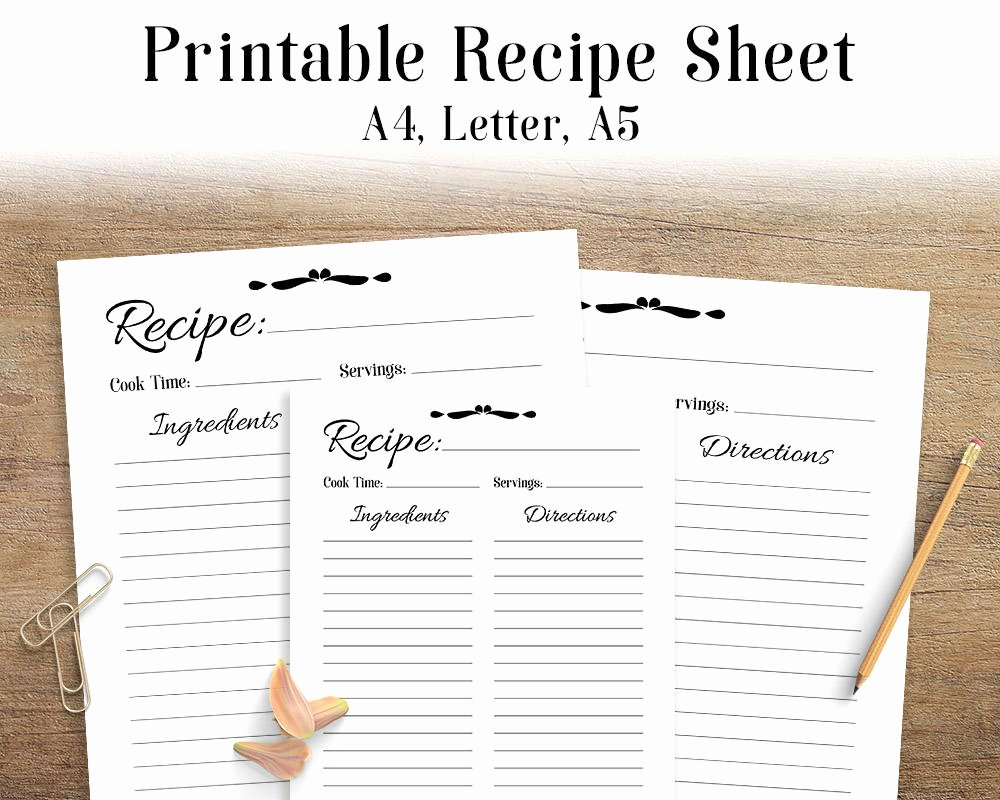 Recipe Template for Mac Beautiful Recipe Sheet Printable Recipe Page Template Blank Recipe