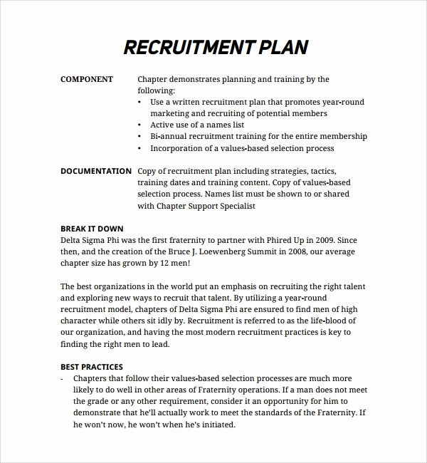 Recruitment Strategic Plan Template Elegant Sample Recruiting Plan Template 9 Free Documents In Pdf