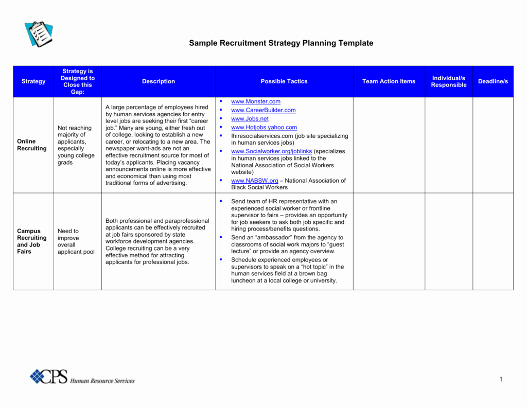 Recruitment Strategic Plan Template Unique Sample Recruitment Strategy Planning Template