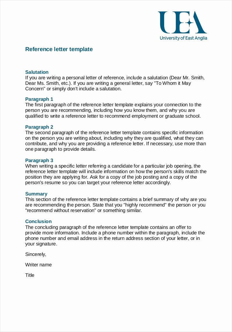 Reference Letter Template Free Best Of Free 9 Employee Reference Letter Samples In Pdf