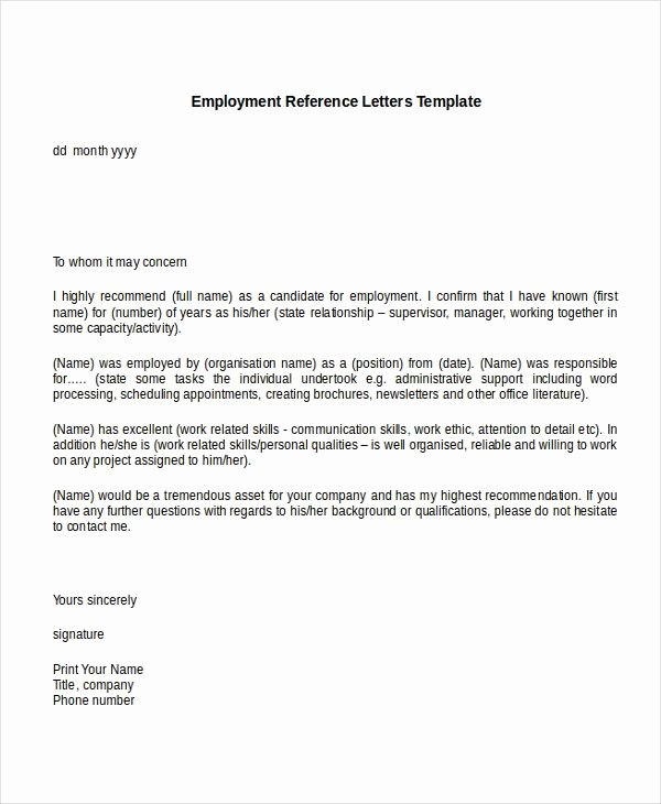 Reference Letter Template Free Lovely 10 Employment Reference Letter Templates Free Sample