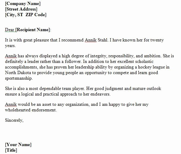 Reference Letter Template Free New 40 Awesome Personal Character Reference Letter