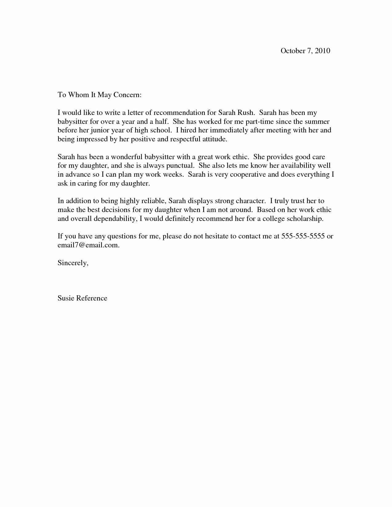 Reference Letter Template Free Unique Scholarship Re Mendation Letter Scholarship