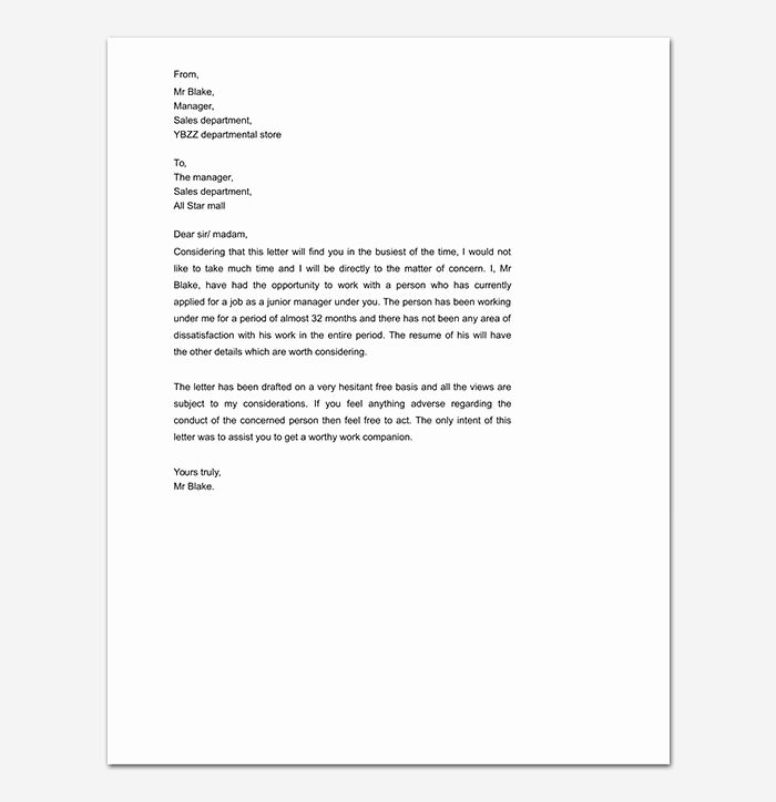 Reference Letter Templates Free Awesome Personal Reference Letter
