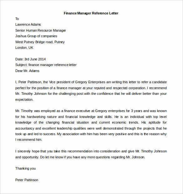 Reference Letter Templates Free Inspirational Free Reference Letter Templates 24 Free Word Pdf