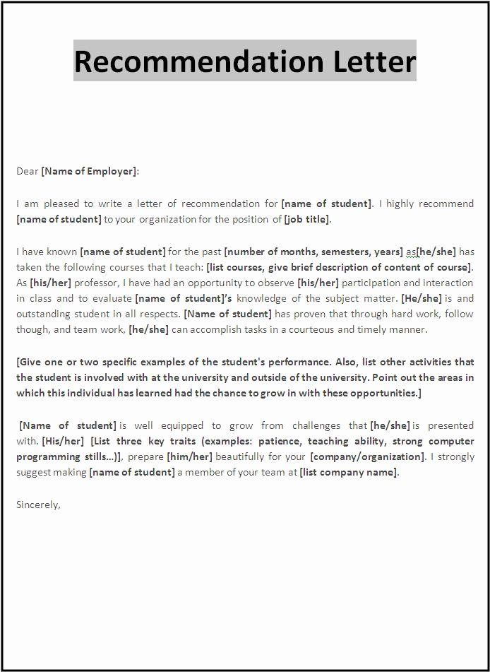 Reference Letter Templates Free Lovely 10 Re Mendation Letter Samples