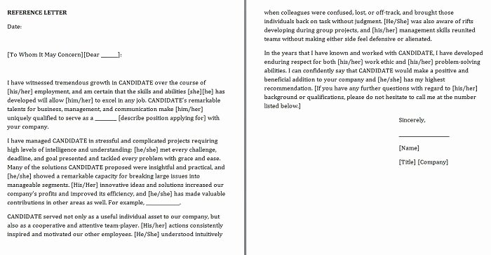 Reference Letter Templates Free Unique Free Personal Character Reference Letter Templates Doc