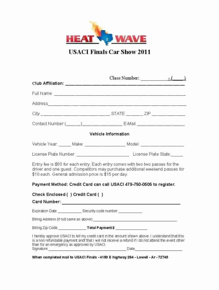 Registration form Template Word Awesome 4 Car Show Registration form Templates – Word Templates