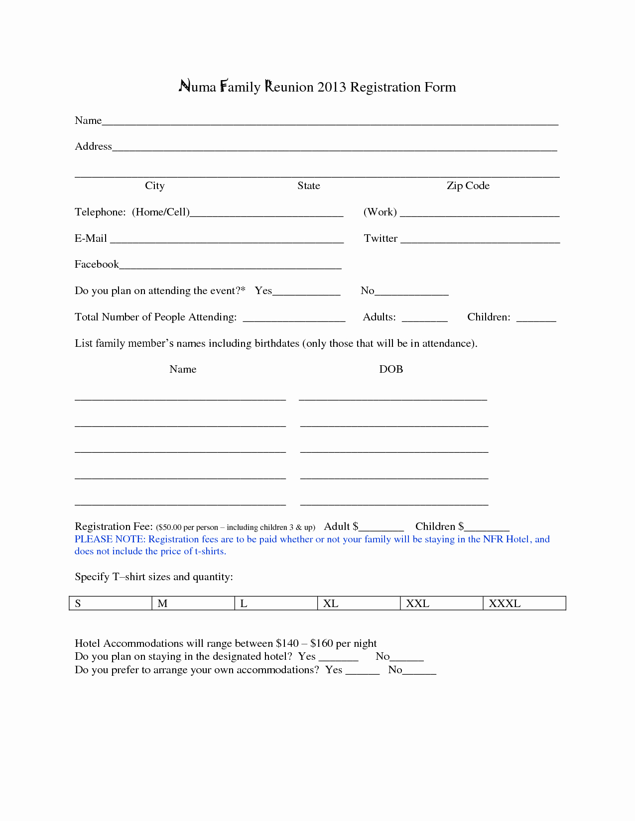 Registration form Template Word Fresh Family Reunion Registration form Template