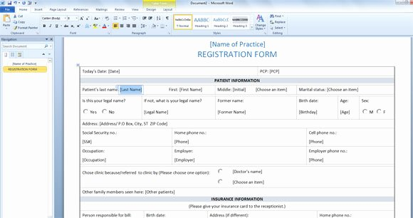 Registration form Template Word Fresh Patient Registration form Template for Word 2013