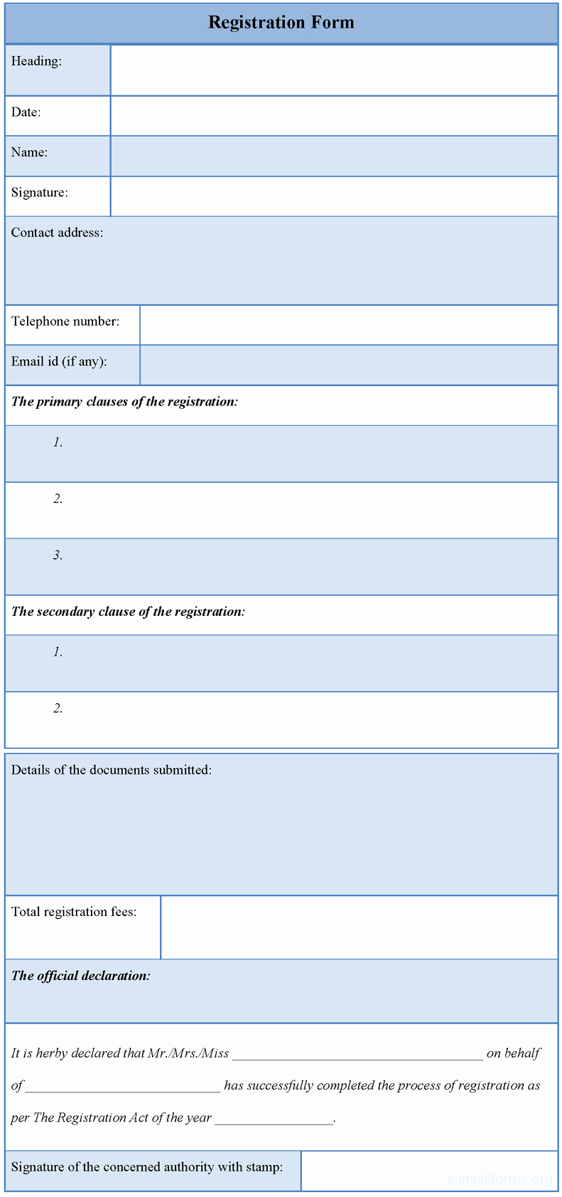 Registration form Template Word Lovely Registration form Template Sample forms