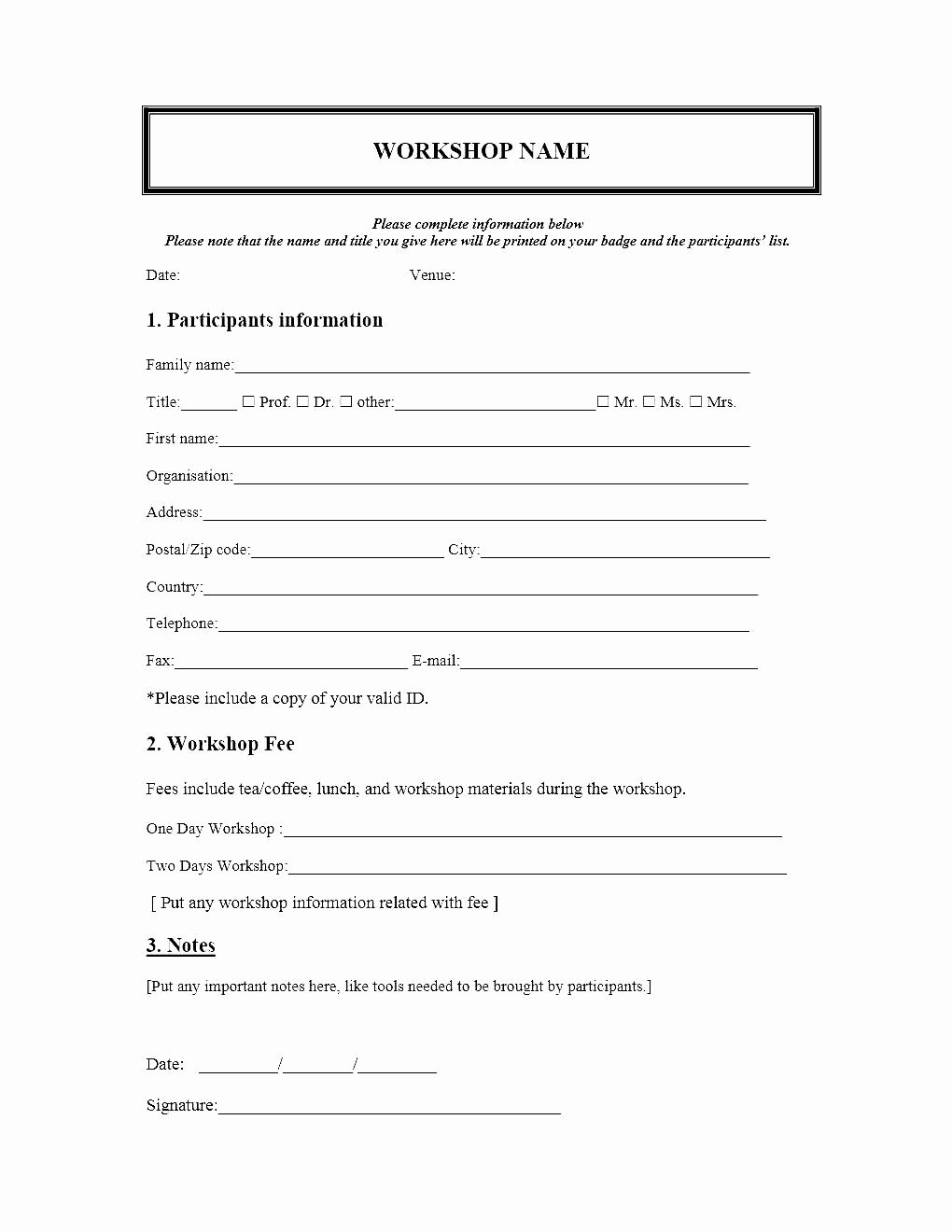 Registration form Template Word Luxury event Registration form Template Microsoft Word