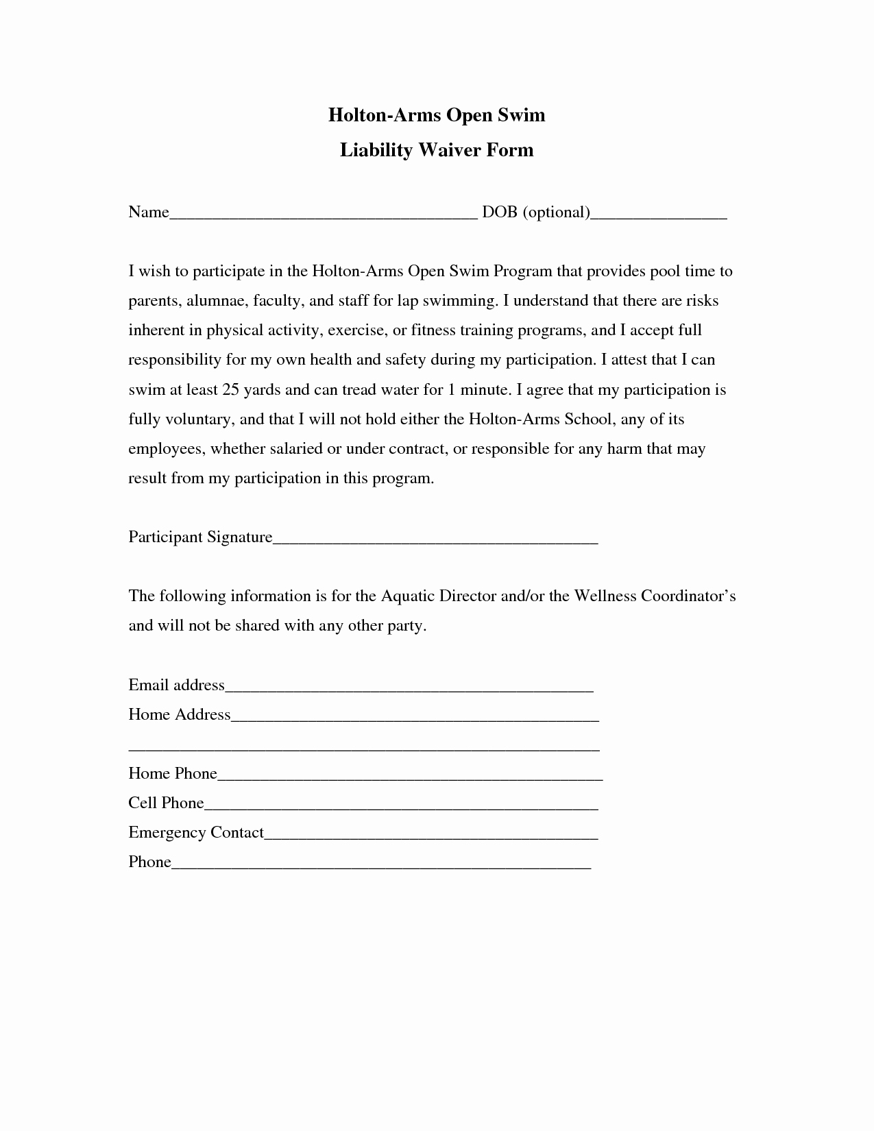 Release Of Liability form Template Beautiful Liability Release form Template Free Printable Documents