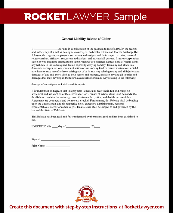 Release Of Liability form Template Elegant General Liability Release Of Claims form