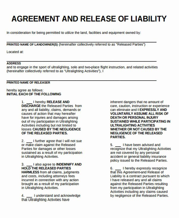 Release Of Liability form Template Elegant Sample General Liability Release form 7 Examples In