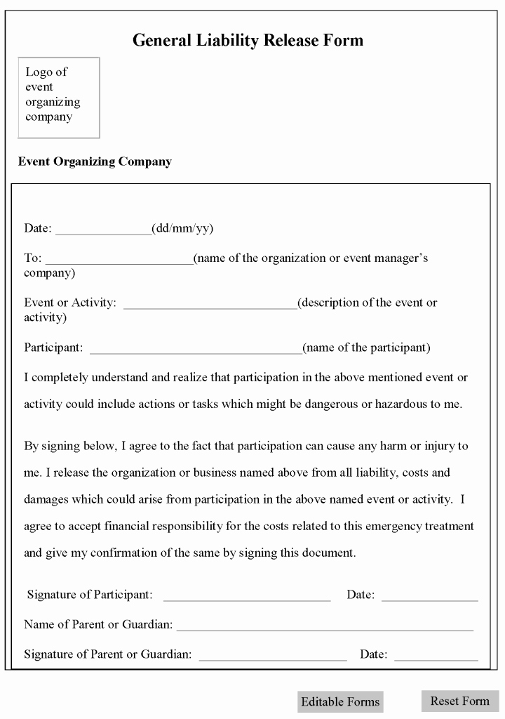 Release Of Liability form Template Fresh Free Printable Liability form Template form Generic