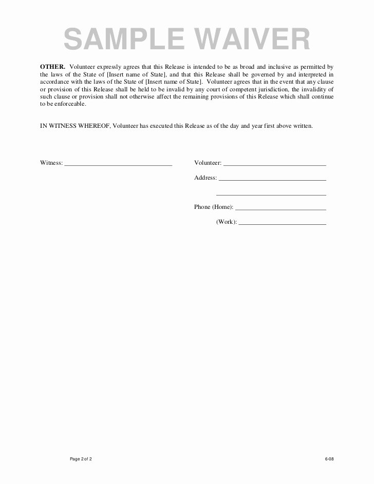 Release Of Liability form Template Inspirational Free Printable Liability Waiver form Template form Generic