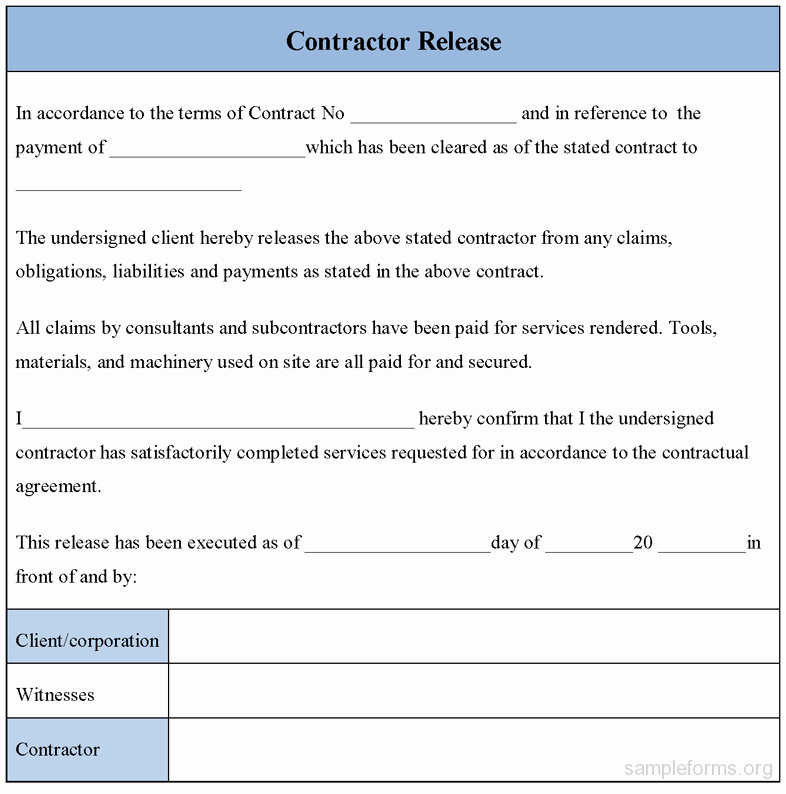 Release Of Liability form Template Lovely Free Printable Liability Release form Sample form Generic