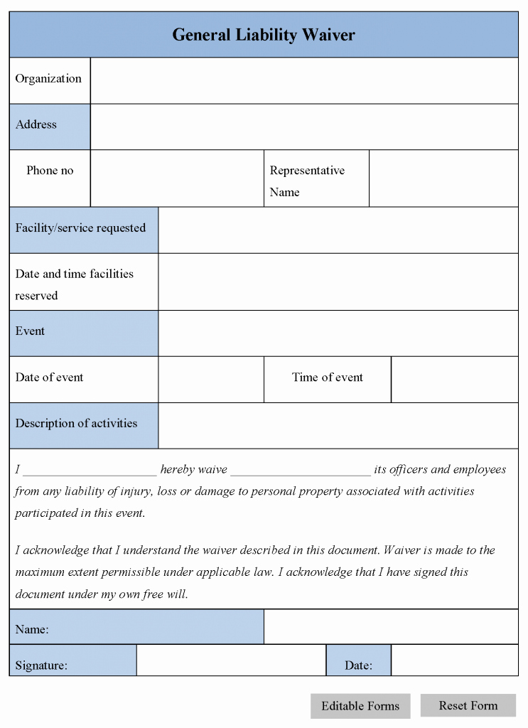 Release Of Liability form Template Luxury Free Printable Release and Waiver Liability Agreement