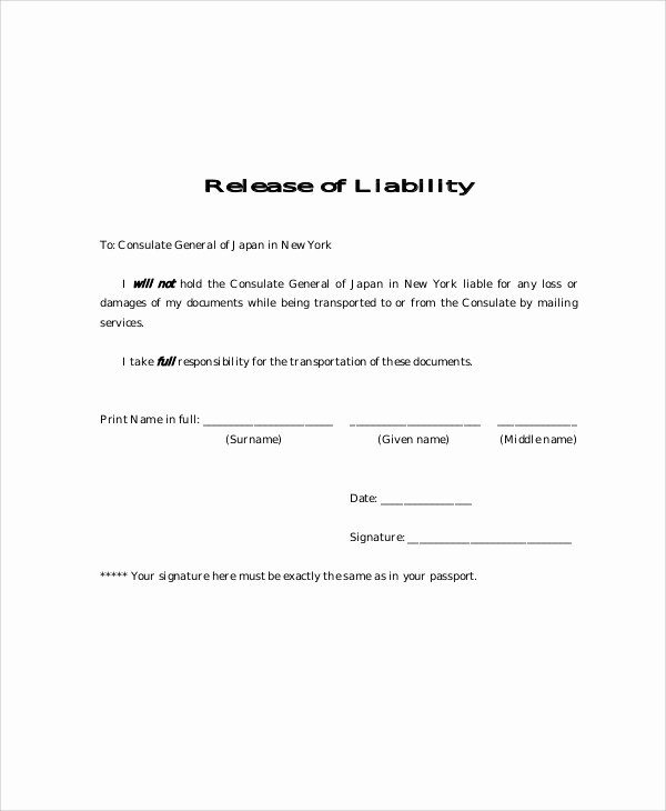 Release Of Liability form Template Luxury Sample Free Release Of Liability form 9 Examples In