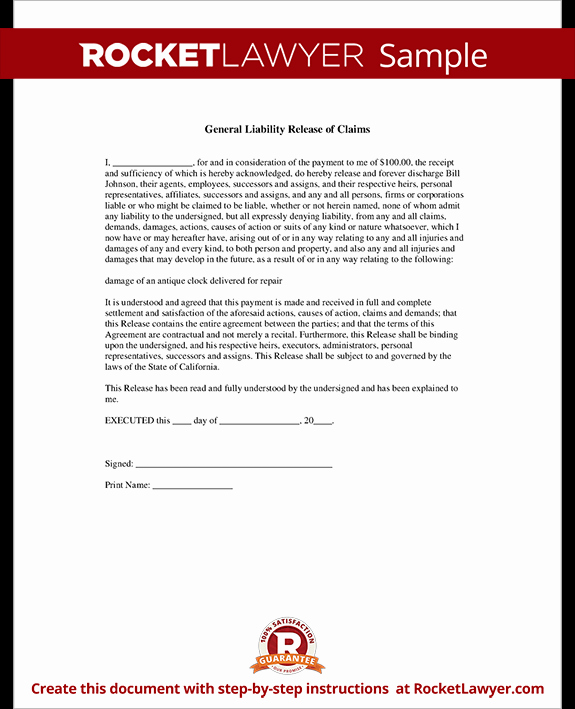 Release Of Liability form Template New General Liability Release Of Claims form