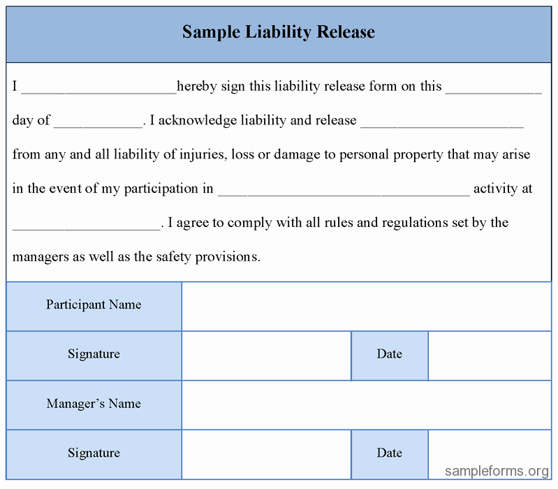 Release Of Liability form Template New Printable Sample Liability Release form Template form