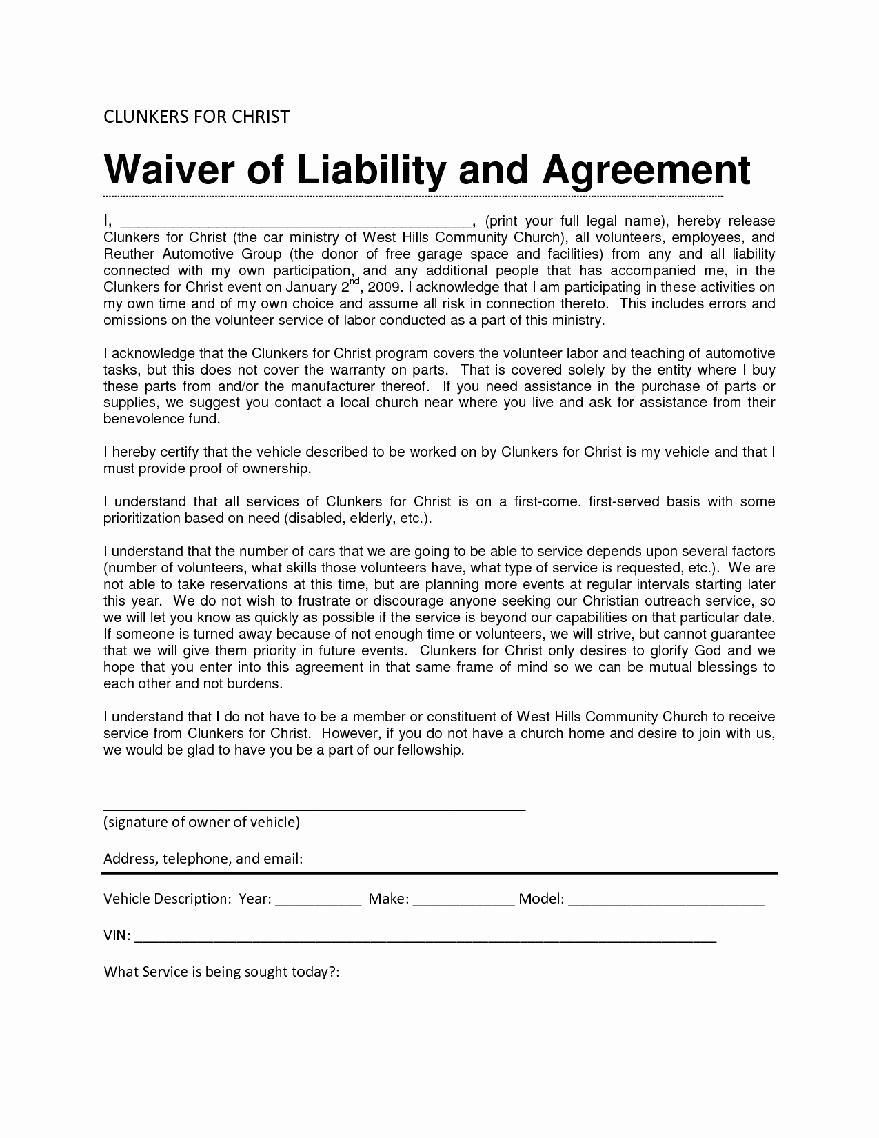 Release Of Liability form Template Unique 28 Of Waiver Template